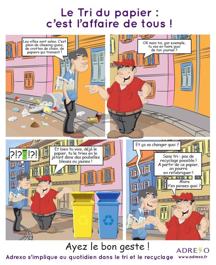 Illustration concernant le bon geste lors du tri du papier