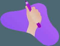 Une main tient un stylo
