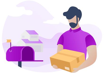 Un distributeur Adrexo dépose un colis dans une boîte-à-lettres