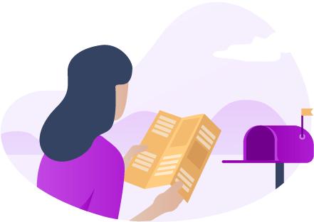 Un prospect découvre un prospectus distribué dans sa boîte-à-lettres